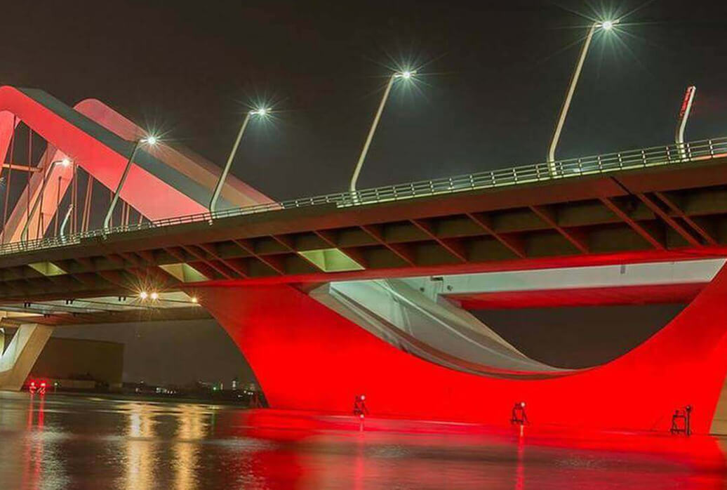 Seven Media - Abu Dhabi's famous landmark lights up red